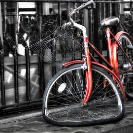 Broken Bicycle by Greg Brzezicki - Transportation Bicycles ( broken, red, street, city, bicycle,  )
