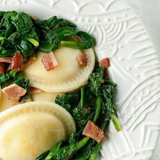 Ravioli with Baby Spinach and Bacon