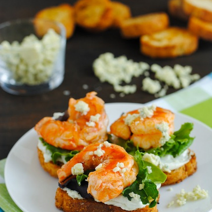 buffalo shrimp crostini with blue cheese spread from foxes love lemons ...