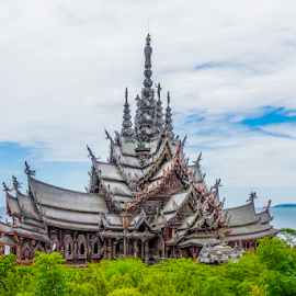 Thailand's Sanctuary of Truth by Jeff Beer - Buildings & Architecture Public & Historical ( siam, statues, thailand, sanctuary, wisdom, carving, siamese, coastal, buddha, religion, sculpture, buddhism, historical, eastern, tao,  )