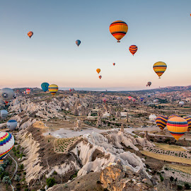 Hot-Air Balloons Over Goreme by Ellen Yeates - Transportation Other ( ride, hot air balloon, time of day, mountain, ellen yeates, aksaray, relax, travel, transportation, landscape, balloon, goreme, sunrise )