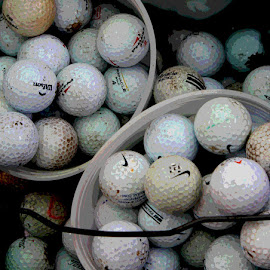 Buckets of Balls by Kaye Petersen - Sports & Fitness Golf ( balls, bucket, sports, golf, collection )