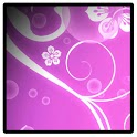 Pink animated floral vines icon