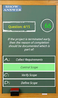 Screenshot of PMP exam game simulator