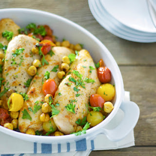 Roasted Red Curry Chicken with Chickpeas and Tomatoes
