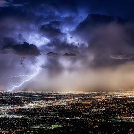 Salt Lake Lightning by Mike Hathenbruck - Landscapes Weather ( lightning, nature, utah, valley, storm, landscape, salt lake city,  )