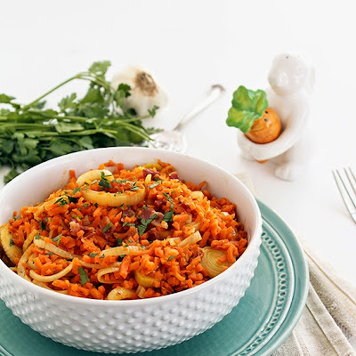Carrot Rice Leek Risotto with Bacon