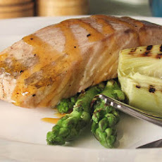 Poached Salmon fillet with Grilled Asparagus