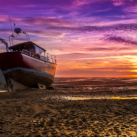 Waiting for the water by Marek Saj - Landscapes Sunsets & Sunrises ( water, clouds, sand, dry, colorful, colors, waterscapes, sailboat, sun, colours, colour, colourful, sailing, color, sunset, cloud, cloudy, summer, gold, golden, golden hour,  )