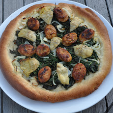Pizza with White Wine Crust, Italian Sausage and Artichoke Hearts