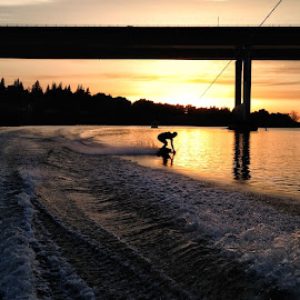 Light Surfing by Mike Fifield - Sports & Fitness Watersports ( water, sacramento, sunset, wakeboarding, river )