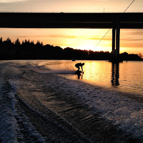 Light Surfing by Mike F - Sports & Fitness Watersports ( water, sacramento, sunset, wakeboarding, river )