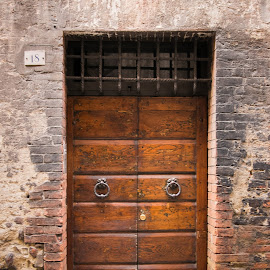 old door by Mojca Gradišnik Hrustel - Buildings & Architecture Homes ( old, tuscany, wood, brick, door, brown )