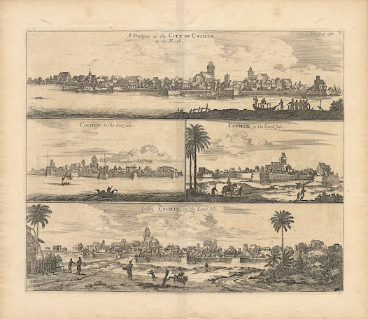 Phillip BALDAEUS (1632-1671). [Kochi, Kerala].  A Prospect of the City of Cochin to the North / Cochin, to the Sea Side / Cochin, on the Land Side / Intire Cochin, on the Land Side. Copper engraving, 34.9 x 41.4 cm. London, 1672 / 1744.  Baldaeus' series of four profile views of Cochin, depicting the city shortly after its capture by the Dutch from the Portuguese in 1663.