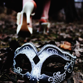 Hiding no More by Toriel Borst - Artistic Objects Clothing & Accessories ( princess, magic, wonderland, masquerade, fall, mask, heels, leaves )