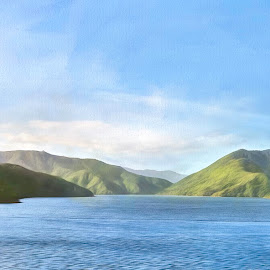 New Zealand Waterscape by Barb Hauxwell - Digital Art Places ( water, hills, mountains, waterscape, landscape, boat, new zealand )