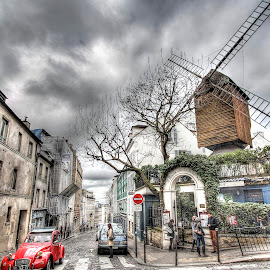 Paris - Montmartre 2 by Ben Hodges - City,  Street & Park  Neighborhoods ( paris, europe, red, hdr, car travel, montmartre, france, windmill )