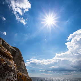 Cliffs and open sea. by Per-Ola Kämpe - Landscapes Waterscapes ( clouds, water, cliffs, stone, sea, rock, ocean, seascape, landscape, coast, sun, sky, blue, summer, sunshine,  )