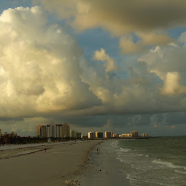 Clouds over Clearwater Beach by Kathy Rose Willis - Landscapes Cloud Formations ( water, clouds, clearwater beach, blue, florida, white, cloudscape, beach, morning )