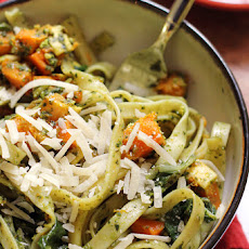 Fettuccine with Swiss Chard Pistachio Pesto and Butternut Squash