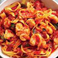 Saffron-Infused Fra Diavolo Sauce and Tagliatelle