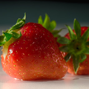 Strawberry time! by Gerd Moors - Food & Drink Fruits & Vegetables ( fruit, red, food, green, wet, bokeh, close up, strawberry,  )