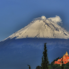 Popocatepetl and church by Cristobal Garciaferro Rubio - Landscapes Mountains & Hills ( nmexico, cholula, popo, puebla, popocatepetl )