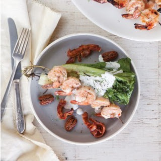 Grilled Romaine Wedges with Shrimp Skewers