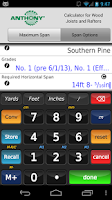 Screenshot of Anthony Lumber Span Calculator