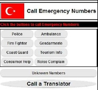 Emergency Numbers in Turkey - screenshot