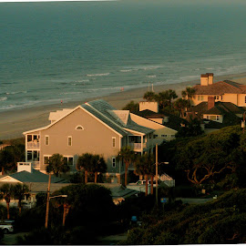 Early Morning view by Valerie Bombino - Landscapes Beaches ( beach scene, beach houses, hotels on the beach, myrtle beach scene, houses on the beach, skyline beach scene )
