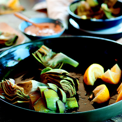 Artichokes with Lemon Za'atar Dipping Sauce