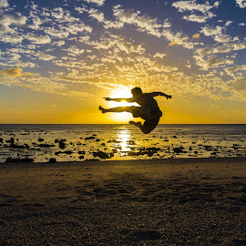 Sunset Karate by Colin Davis - Sports & Fitness Other Sports ( sunset, action, martial arts, karate )