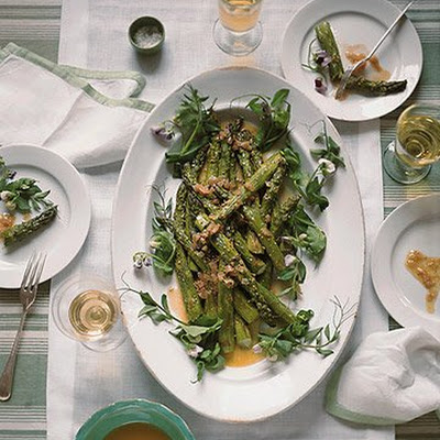 Grilled Asparagus with Caramelized Shallot Vinaigrette