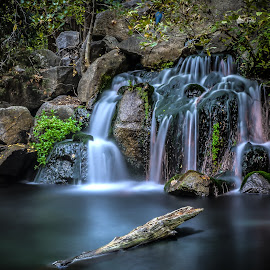 Water fall by Brent Lindsay - Landscapes Waterscapes ( water, rocks, log )