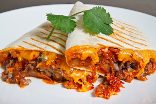 Spicy Pork Bulgogi and Beans Burrito Recipe | Yummly