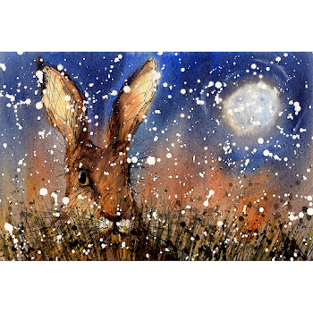 Christmas moon hare art print from a watercolour painting