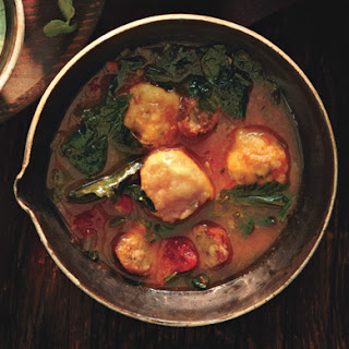 Mixed-Greens and Sausage Soup with Cornmeal Dumplings