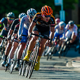 Orange in the Lead by Garry Dosa - Sports & Fitness Cycling ( speed, racing, cycling, summer, july, tour de white rock, people,  )