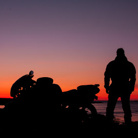 End off the day. by Þórir Þórisson - Transportation Motorcycles ( biker, sunset, motorcycle, siluette, kawasaki, sigma 17-70, canon 50d )