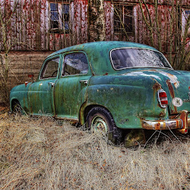 Parked forever.. by Jan Helge - Transportation Automobiles ( car, old car, green, oldsmobile, mercedes )
