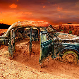 Dead and Buried by Brett Warner - Digital Art Things ( car, queensland, hdr, outback, composite, dreamworld, rover, gold coast, color, buried, surreal, abandoned, photoshop )