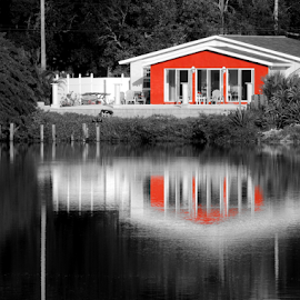 Lakehouse by Jamie Boyce - Buildings & Architecture Homes ( red, challenge, selective color, florida, lake, house, pwc,  )