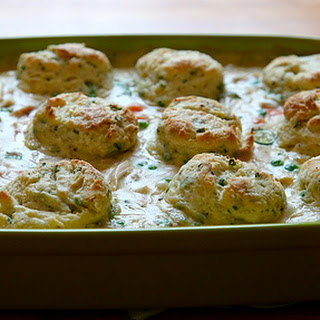 Chicken Pot Pie with Cream Cheese and Chive Biscuits