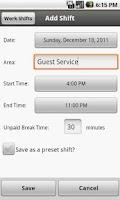 Screenshot of Work Shifts