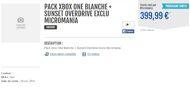 White Xbox One Sunset Overdrive bundle appears online, then disappears