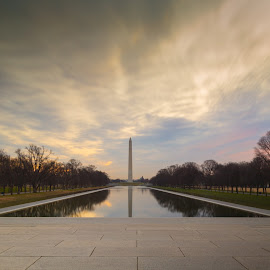 Reflections at dawn by Andrew Dawes - City,  Street & Park  City Parks ( monuments, dawn, winter, reflections, washington dc )