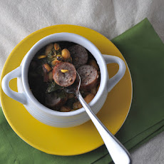 Rancho Gordo Beans with Sausage, Pistachios and Honey