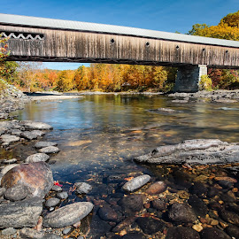 Autumn Crossing by Paul Brady - Buildings & Architecture Bridges & Suspended Structures ( crossing, stream, wood, dummerston, transportation, weathered, new england, autumn, covered bridge, fall, bridge, vermont, river )