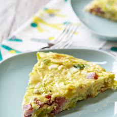 Leek and Ham Frittata with Goat Cheese
